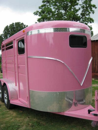 CALICO BRAND SADDLE 2 HORSE SLANT 1 HORSE TRAILER...True Love Pink