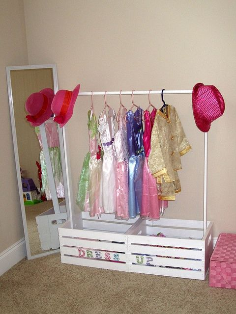 DIY dress up closet made with 2 wood crates from any craft store. No tools! used industrial strength glue to hold these pieces together