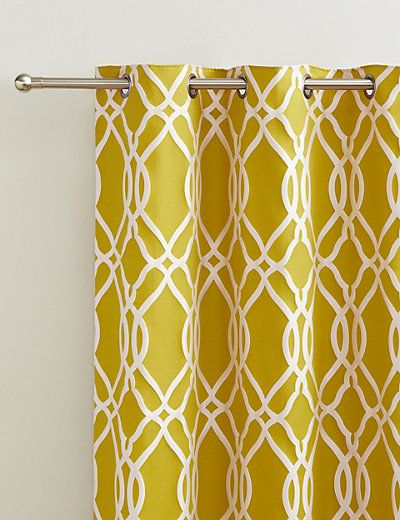 Geometric Jacquard Eyelet Curtains   M&S