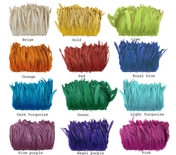 """A big 1/4 lb roll of 8-10"""" rooster feathers (approx. 470 count) in your choice of colors for just $ 56.00  That's less than 12 cents a feather!  Strung at bottom w/ double row of stitching. #regalia #roosterfeathers #tailfeathers #dyedfeathers"""