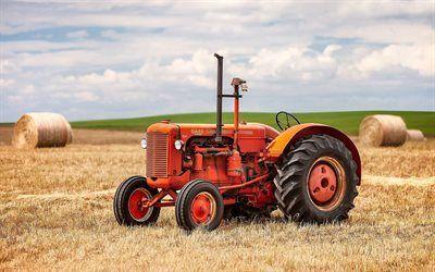 壁紙をダウンロードする 収穫, 分野, 古いトラクター, の場合