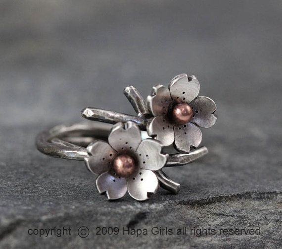Cherry Blossom Branch Adjustable Ring in Silver, Stacking rings, Spring Jewelry, MADE to ORDER, Twig ring, Bridal accessories