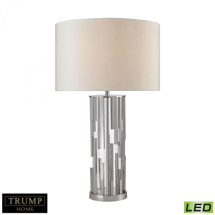 Lamps By Dimond Trump Home Livornio Clear Glass LED Table Lamp in Polished Nickel D2673-LED