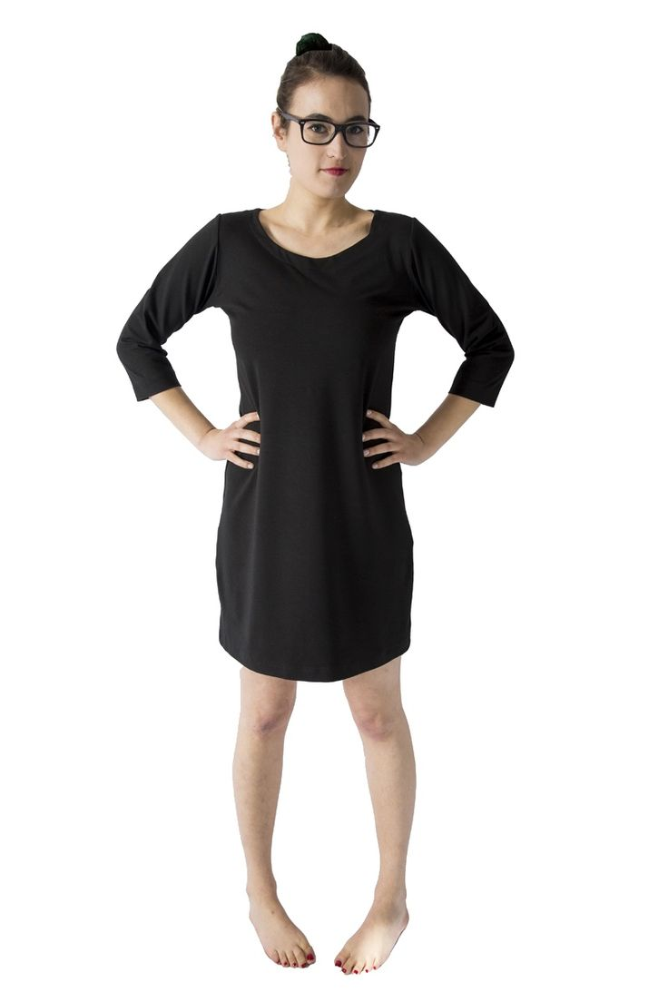 "This simple staple dress is perfect solo or layered, has an A-line cut, flattering scoop neck, and 3/4 sleeves. Available in our signature stretch organic cotton bamboo fleece or thicker noir fabric for ample structure. S 34"", M 35"", L 36"" length. Continue reading →"