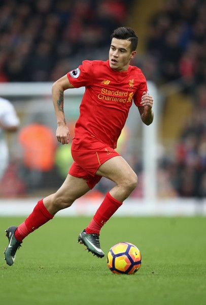 Philippe Coutinho of Liverpool in action during the Premier League match between Liverpool and Swansea City at Anfield on January 21, 2017 in Liverpool, England.