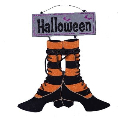 halloween sign color orange black design striped witch sock and shoes size x material metal wording halloween - Metal Halloween Decorations