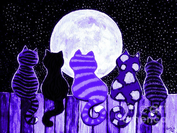 Blues cats meowing at the moon
