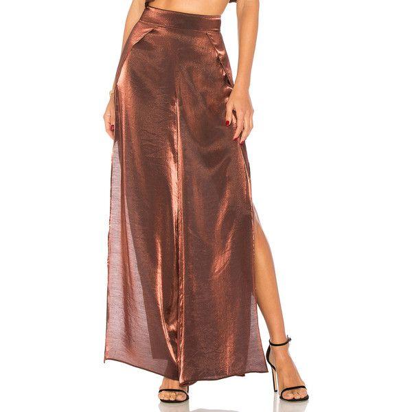 ale by alessandra x REVOLVE Joana Pant ($150) ❤ liked on Polyvore featuring pants, slit pants, brown pants, rayon pants, drapey pants and draped pants
