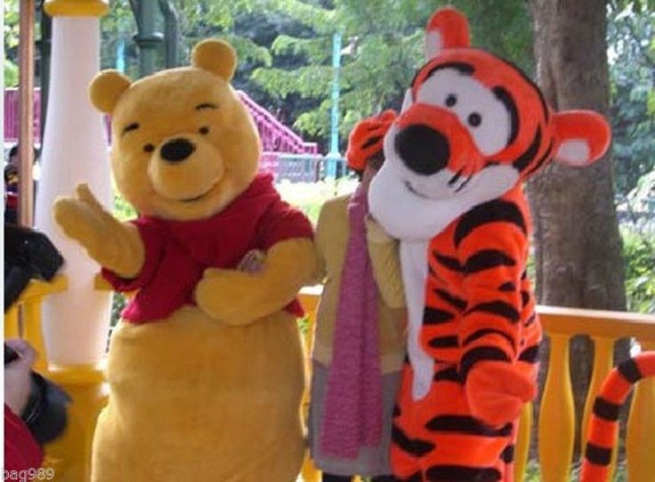Winnie The Pooh Bear and Tigger Adult Size Cartoon Mascot Costume a Pair #Suit