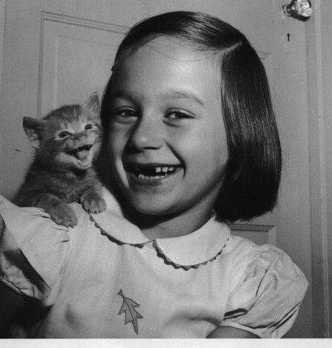 VINTAGE, CAT, FUNNY, GIRL, SMILING, SMILE, LAUGH, LAUGHING