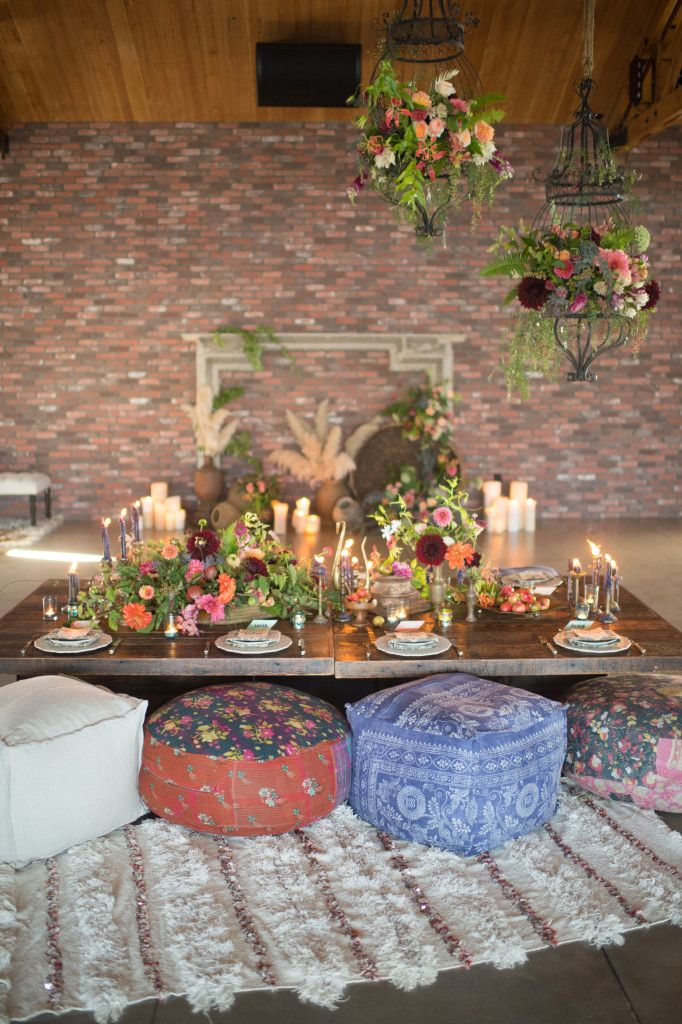 eclectic bohemian dinner party decor yes please - Low Dining Room Table