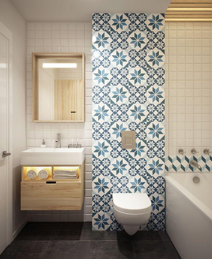 Decoração de: Detalhes; ladrilhos hidráulicos azuis; Casa de Valentina