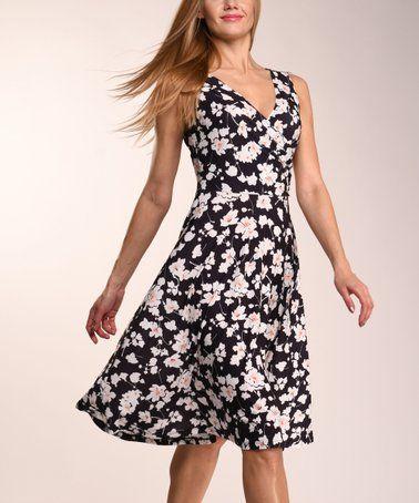 1f822721201e8b Lbisse Black   White Floral Sleeveless Dress