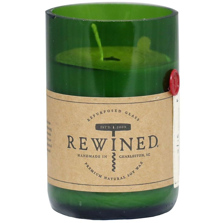 Rewined Candle, Cabernet. Repurposed wine bottle candles with scents that mimic the tasting notes of wine.