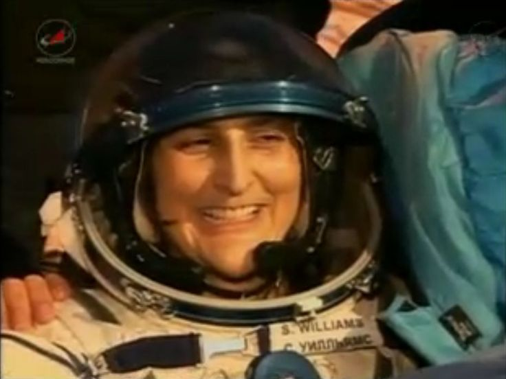NASA astronaut Sunita Williams, Expedition 33 commander, smiles after returning to Earth on Nov. 18 (EST), 2012, aboard a Soyuz TMA-05M space capsule. Williams and two crewmates landed on the frigid steppes of Kazakhstan in Central Asia after a 127-day mission. A timing glitch forced the capsule to overshoot its intended landing site slightly by a few miles, but made an otherwise smooth touch down at 7:56 a.m. local time — one hour before sunrise — on Monday (Nov. 19), NASA officials said.