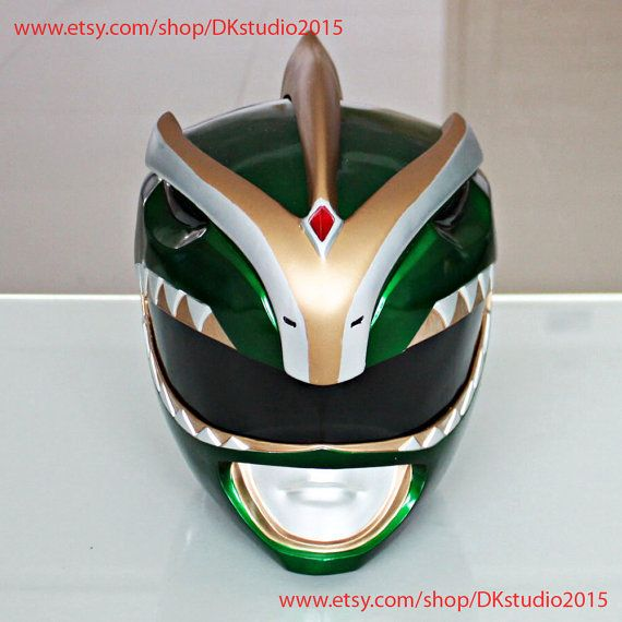 1:1 Scale Halloween Costume, Mighty Morphin Power Ranger Helmet Costume Mask, Power Ranger Cosplay Green Ranger Bat in The Sun PR16