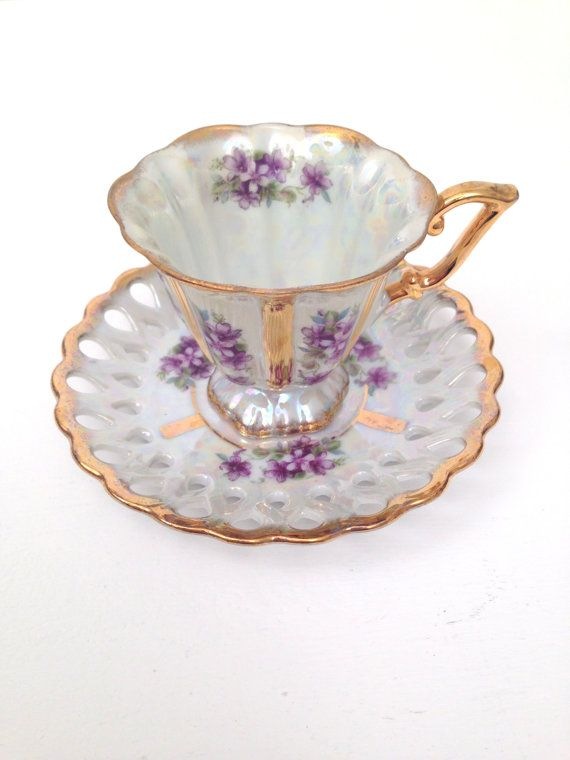 Vintage Royal Sealy Japan Opalescent Victorian Inspired Tea Cup and Saucer Tea Party Wedding Gift Inspiration