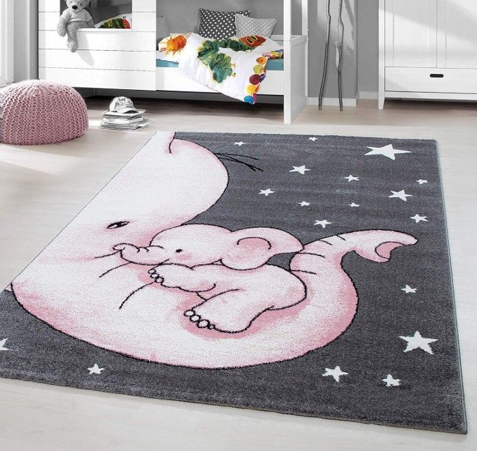 Kinderteppich Kurzer Flor Elefant Kinderzimmer Babyzimmer Heidegrau Grosse 160x230 Cm In 2020 Baby Zimmer Grau Kinderteppiche Babyzimmer