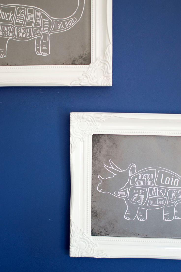 Kitchen Tour - dinosaur artwork and deep blue wall