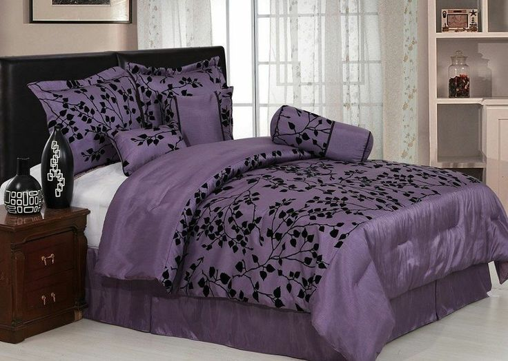 Chezmoi Collection 7pcs Silky Purple Black Flocked Leaf