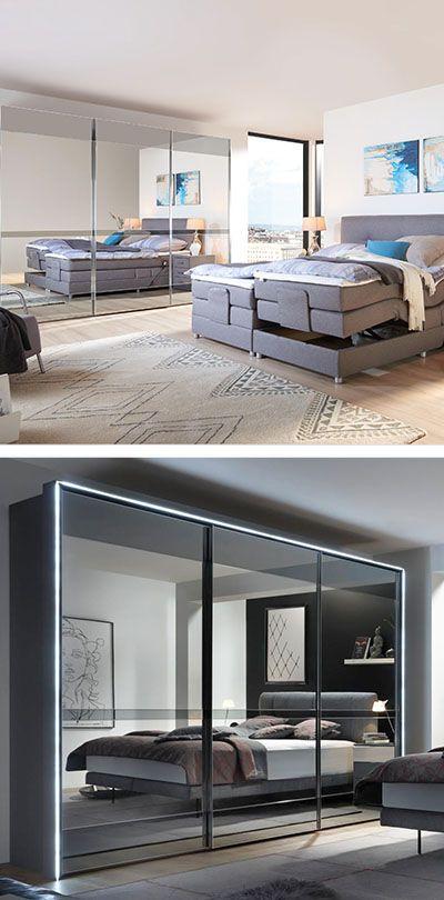 SCHWEBETÜRENSCHRANK in Grau Schlafzimmer Pinterest
