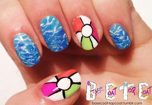 beach ball nails cute summer