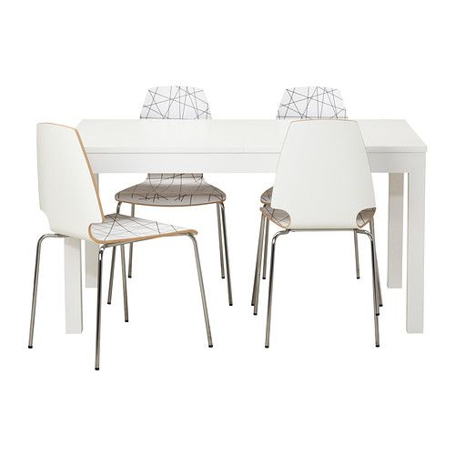 Excellent ikea bjursta vilmar table and chairs extendable for Table ronde blanche ikea