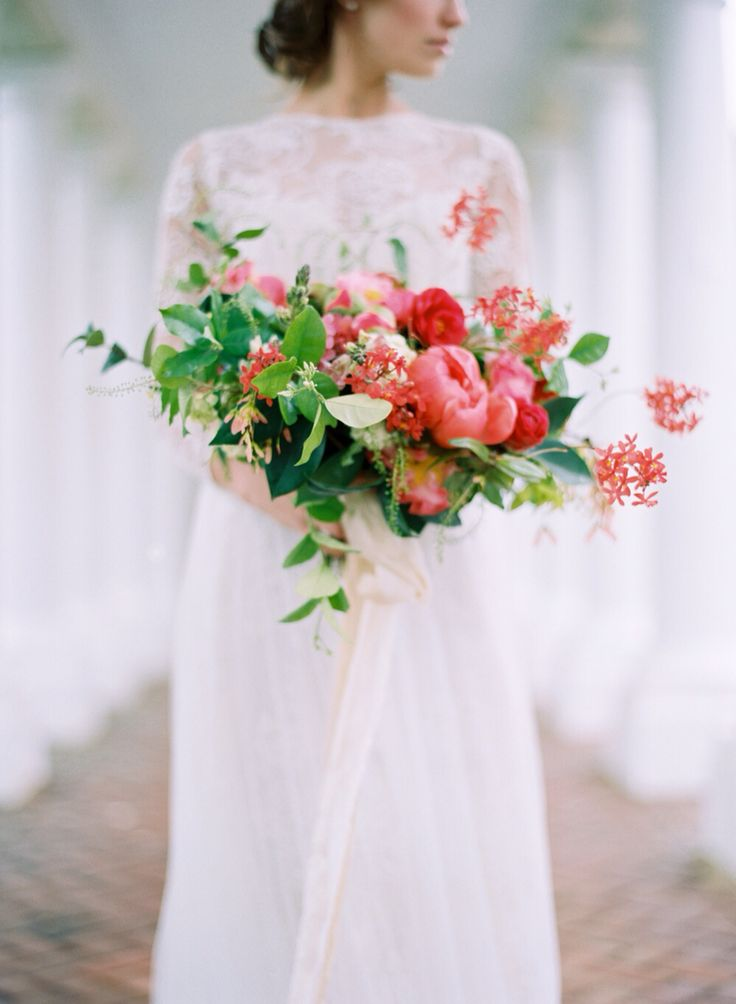 Exquisite Bridal Bouquet With Coral Peonies As The Feature Floral + Greenery & Foliage ^^^^