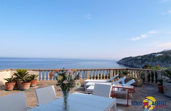 Beachfront villa with stunning panoramic view in Castro Marina, Italy.