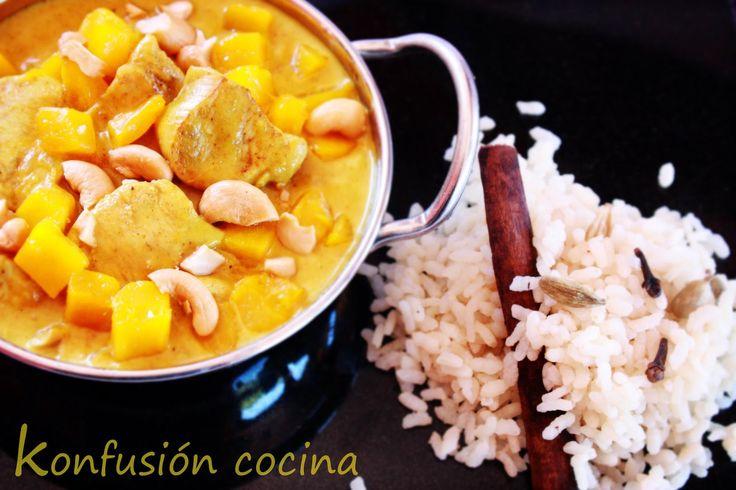 Kon fusión - Cocina: Pollo al curry con crema de coco mango y lima
