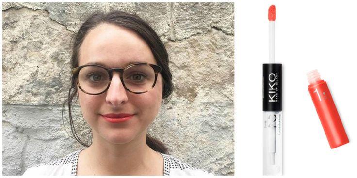 Adélie porte le rouge à lèvres «Double Touch Lipstick», n°109 de la marque KIKO à 6,90€. Promesse: «Il tient jusqu'à 10 heures». | On a testé des rouges à lèvres «très longue tenue» pour voir s'ils marchaient