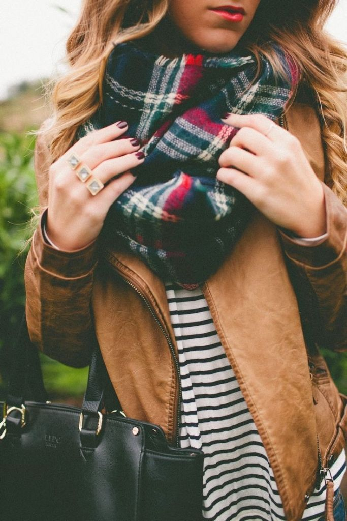 #fall #fashion / tartan scarf + leather