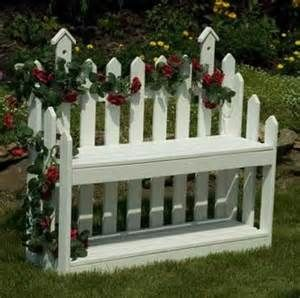 Image detail for -Wooden Picket Fence Bench - Garden Benches - Amish Lawn Ornaments