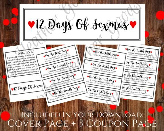 12 Days Of Sexmas Naughty Christmas Gift Printable Naughty Etsy Christmas Coupons Naughty Coupon Book Naughty Christmas