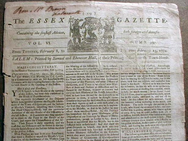 Details about 1774 newspaper BOSTON TEA PARTY Salem ...