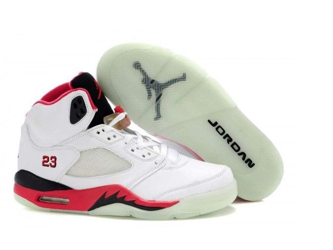 Cheap Discount White Red Black Air Jordan 5 Glow In The Dark Basketball  Shoes Shop