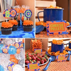 All the generic party accessories you need to set up the perfect Nerf war themed birthday party.