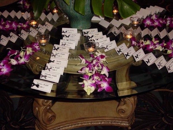 Orchid Place Card Setting Table Using Blue Dendrobium