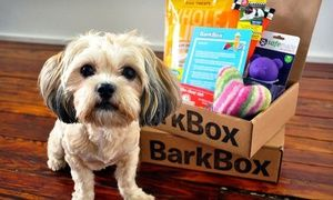 Groupon - Three- or Six-Month Subscription for Monthly Delivery of Dog Goodies from BarkBox (Up to 41% Off) in [missing {{location}} value]. Groupon deal price: $42.50