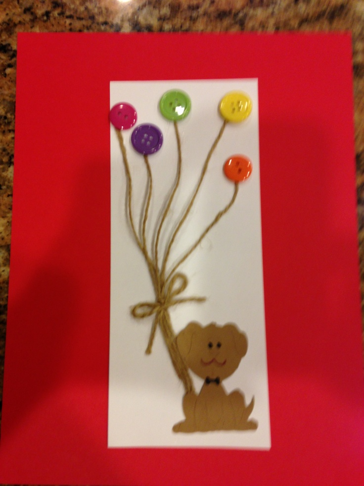 Thank you card with buttons and balloon