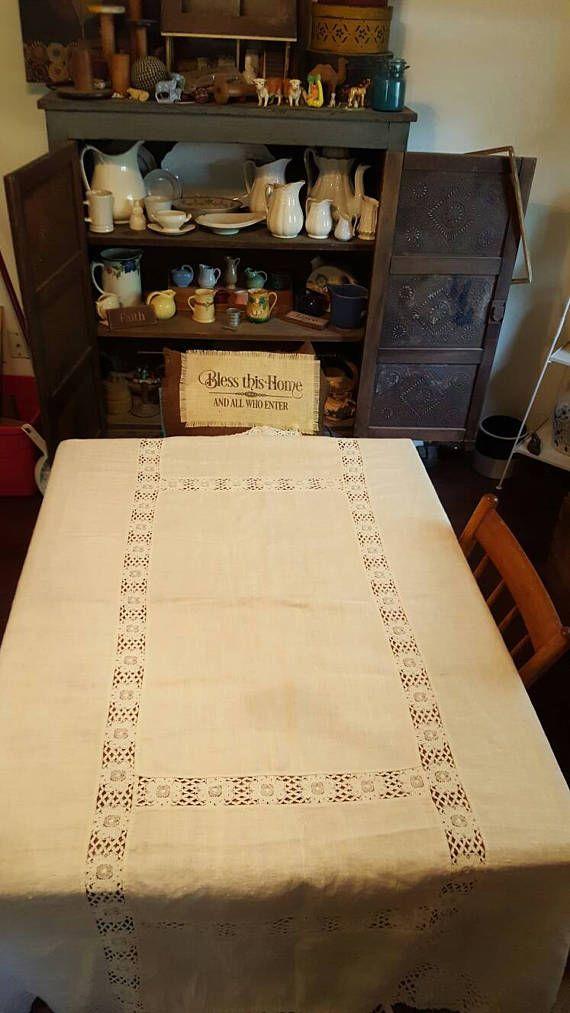 Vtg White Linen Oblong Tablecloth 76 x 62 Floral Lace Inserts