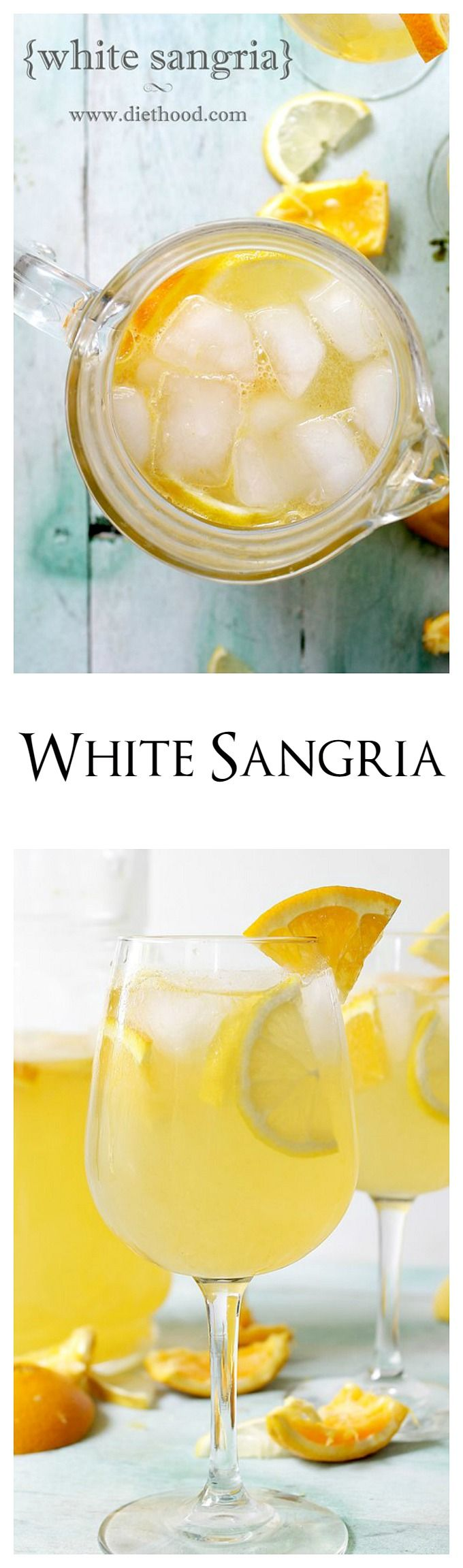 Fresh and fruity White Sangria made with white wine, triple sec, fresh orange juice and lemon juice.