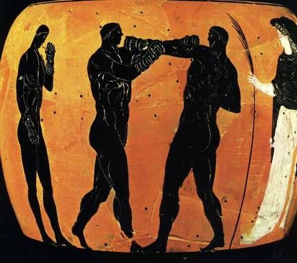 Three boxers on a Panathenaic amphora (336/5 BC). Scan from: Nicolaos Yalouris, The Olympic Games in Ancient Greece, 1982, p. 223  (British Museum, London)