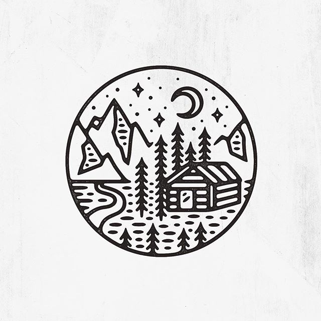 Busy working on client work but managed to fit this little one in between projects that's up for grabs! #graphicdesign #design #illustration #art #artwork #drawing #handdrawn #slowroastedco #cabin #nature #outdoors #explore #travel #mountains #camping