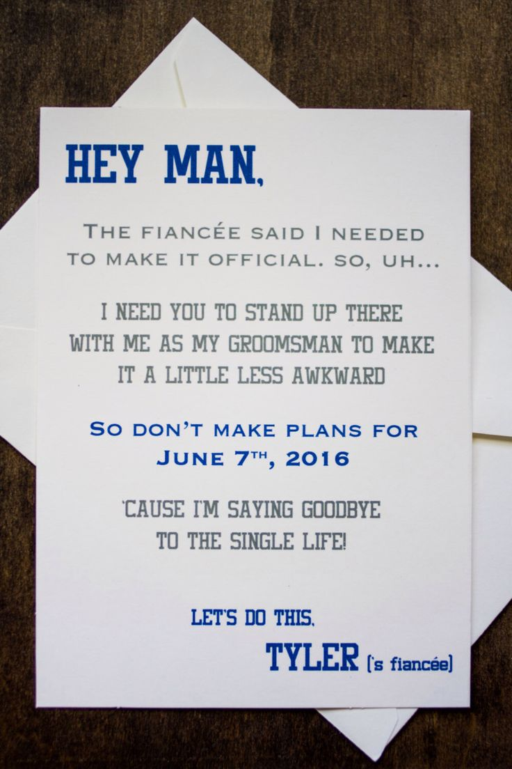 Groomsman Card Invite - Will you be my Groomsman? Funny by ForeveryMomentCo on Etsy https://www.etsy.com/listing/186738030/groomsman-card-invite-will-you-be-my