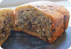 Para mi peque con amor: Bizcocho de harina de espelta, nueces y pepitas de chocolate (panificadora)