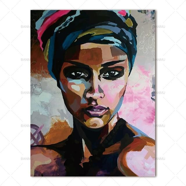 MODERN ABSTRACT AFRICAN WOMAN ETHNIC BOX CANVAS PRINT WALL ART PICTURE