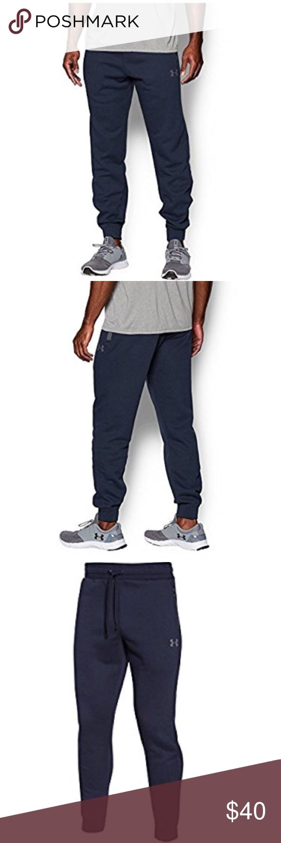 """Under Armour Men's UA SoHo Fleece Jogger Pants Whether you're looking for casual wear or a pair of pants to sweat in, these fleece joggers are for you! Midweight, 280g durable cotton-blend fleece. Soft, brushed inside traps warmth. Ribbed waistband with external drawcord. Secure hand pockets. Ribbed cuffs. Tapered leg. Inseam: 31"""". 9.9 oz. Cotton/Polyester. Imported. Under Armour Pants Sweatpants & Joggers"""