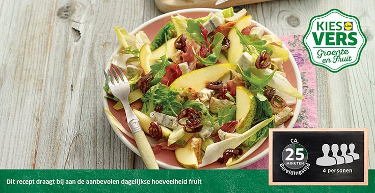 Recept voor Salade van peer met blauwe kaas en gekonfijte sjalotten #Lidl #Peer