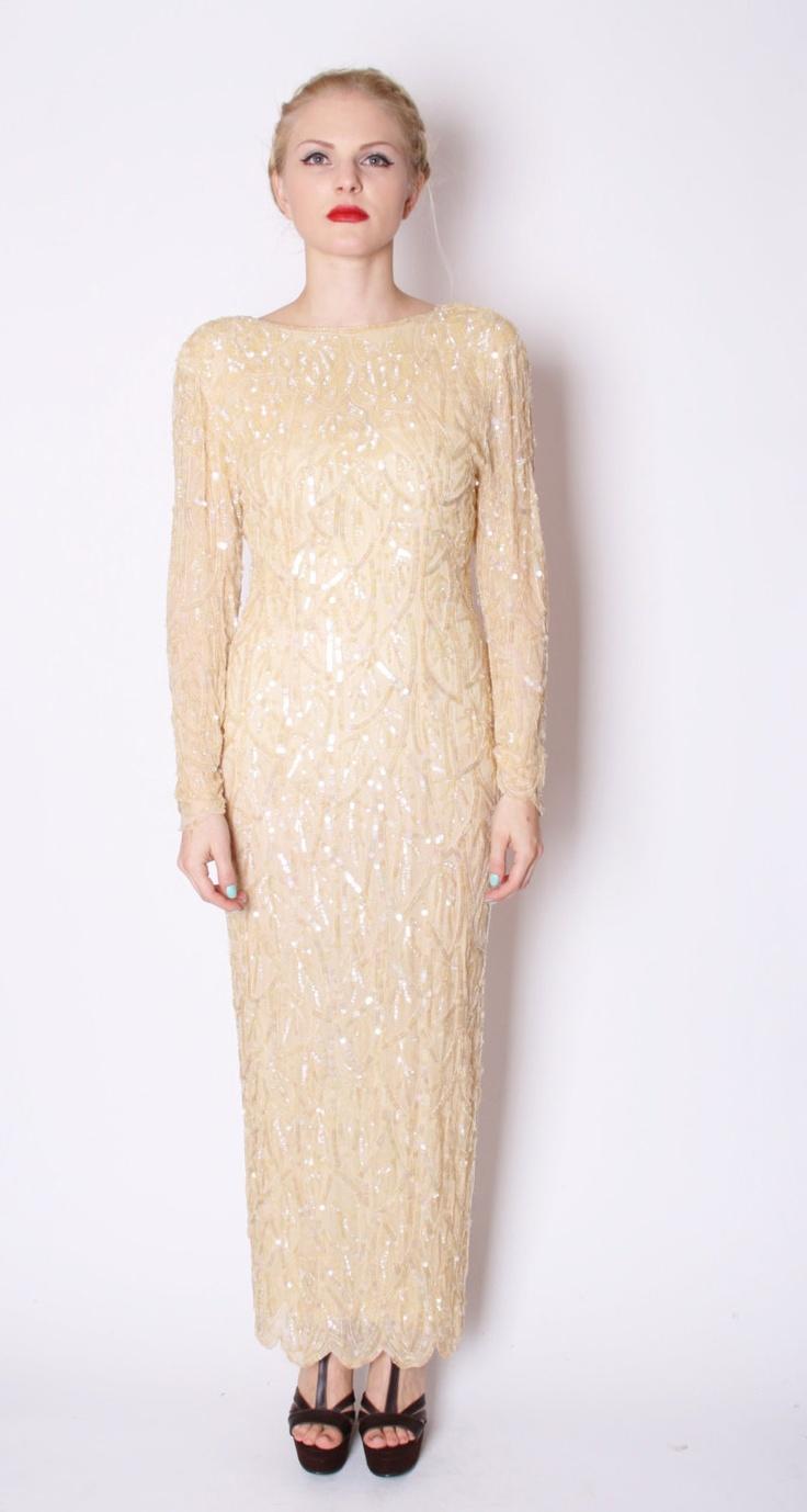Art Deco Silk Champagne Nude Gold Full Sequin Beaded Long Wedding Dress / Dress / Dresses / Sequin Wedding Dress / Pastel / 1714. $414.00, via Etsy.